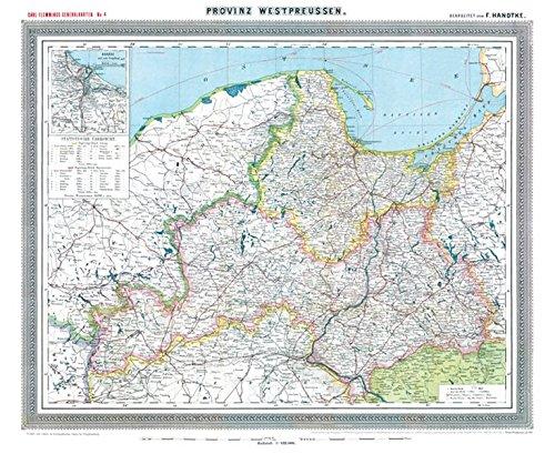 Historische Karte: Provinz Westpreussen, um 1905 (plano): Mit den Regierungsbezirken Danzig und Marienweder. Carl Flemmings Generalkarten No. 4