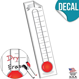 Fundraising Thermometer Goal Setting Chart - Dry Erase Reusable Fundraiser Tracker for Goals Adhesive Decal - 11x48