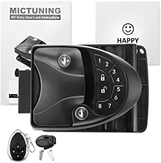MICTUNING RV Keyless Entry Door Lock Handle Latch, 20Meter Wireless Remote Control for Trailer Caravan Camper Lock with Keypad & Fob