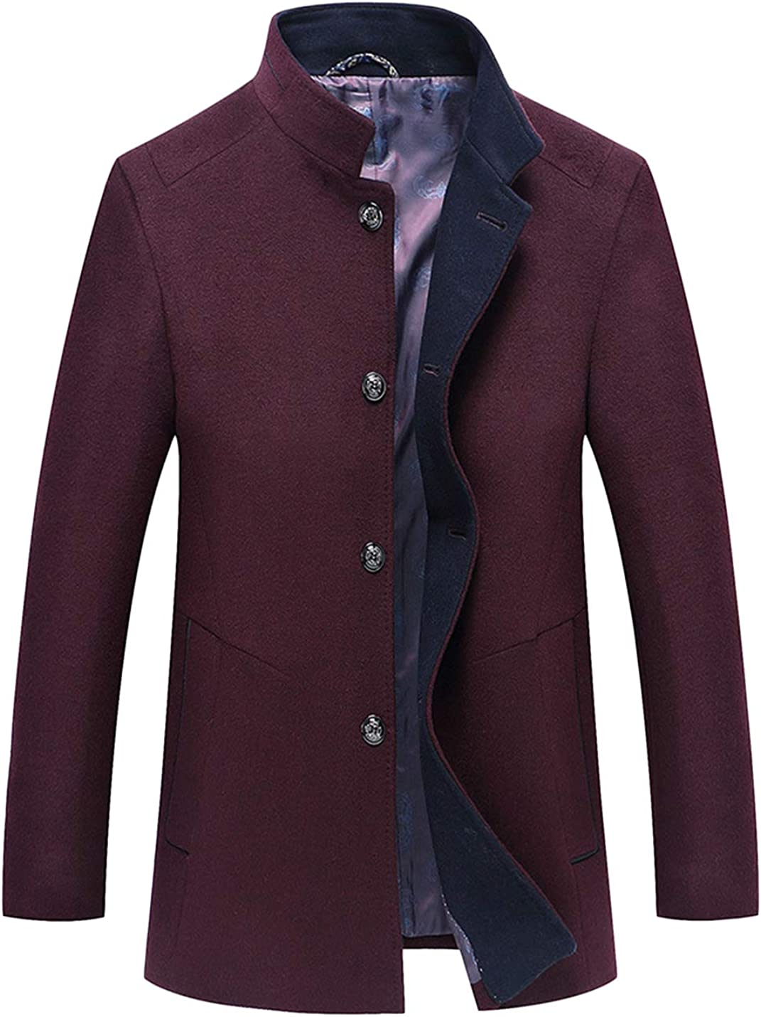 Uaneo Men's Winter Thicken Stand Collar Single Breasted Wool Blend Warm Pea Coat (Wine Red, Medium)