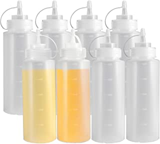 Condiment Squeeze Bottles, OAMCEG 8-Pack 16 oz Durable Plastic Squeeze Squirt Bottle with Discrete Measurements for Ketchu...