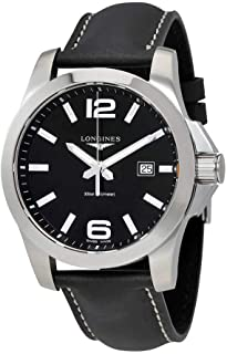 Longines Conquest Black Dial Black Leather Mens Watch L37604563