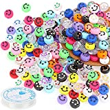 Smiley Face Beads,196 Pieces Acrylic DIY Happy Face Spacer Beads for Jewelry Making,Bracelet Necklace Earring Craft Making Supplies, with 5m Stretch Cord