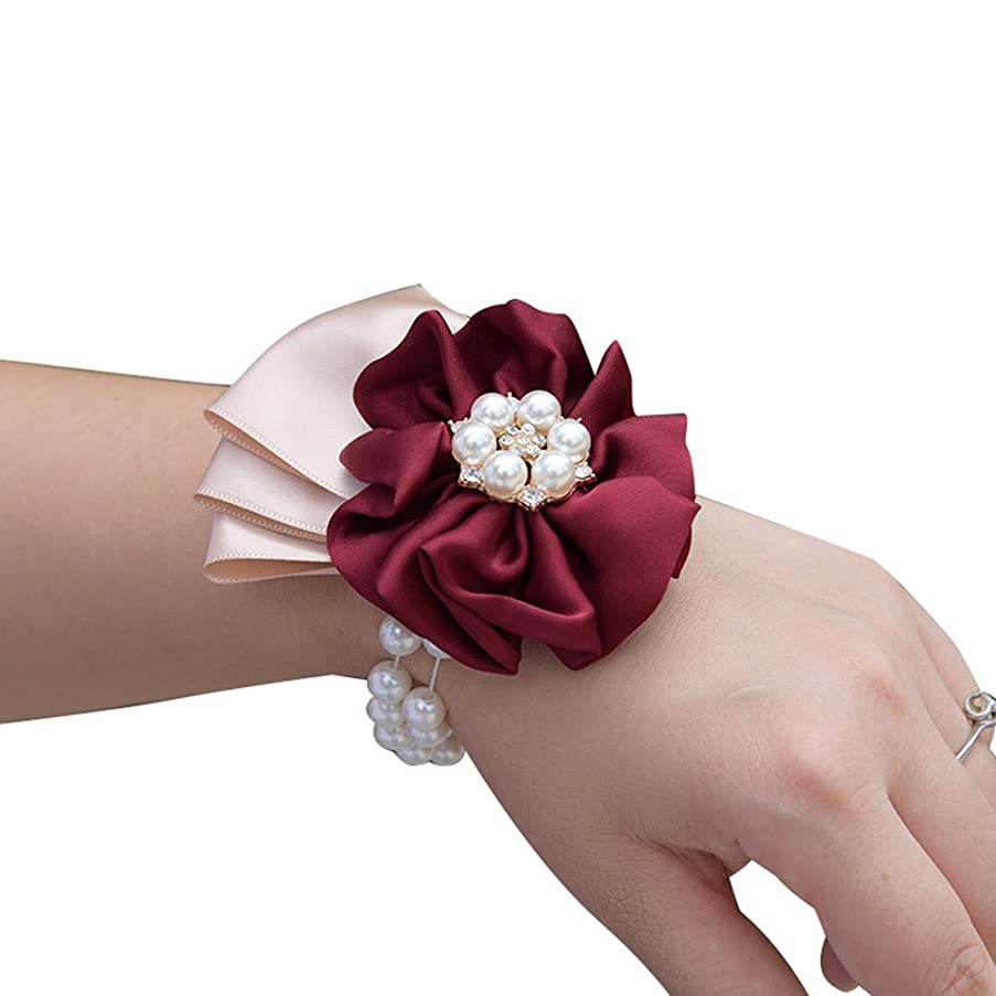 USIX 2pc Pack-Handmade Satin Flower Wrist Corsage With Elastic Pearl Wristband for Girl Bridesmaid Wedding Wrist Corsage Party Prom Flower Corsage Hand Flower (2 Wrist Corsages)