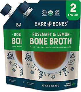 Sponsored Ad - Bare Bones Rosemary & Lemon Chicken Bone Broth for Cooking and Sipping, Pasture Raised, Organic, Protein an...