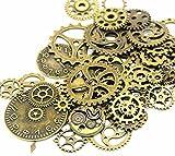 IBS 140 Gram Bronze Steampunk Clock Watch Wheel Gears Cogs Charms Pendant for DIY Jewelry Making
