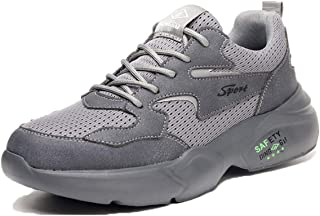 Pinkpum Men's Safety Shoes Non-Slip Lightweight Steel Toe Cap Work Shoes Sports Shoes Lightweight Sneakers