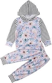 女宝宝花朵衣服条纹连帽上衣长袖裤子套装