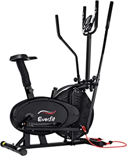 Everfit Exercise Bike Magnetic Resistance Adjustable Elliptical Cross Trainer 100/120kg Stationary Cycling Home Gym Exerci...