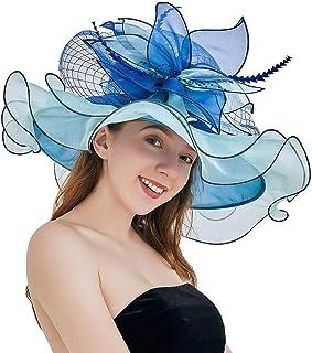 YiyiLai Women Veil Fascinator Organza Folding Derby Hat Summer Sun Cap