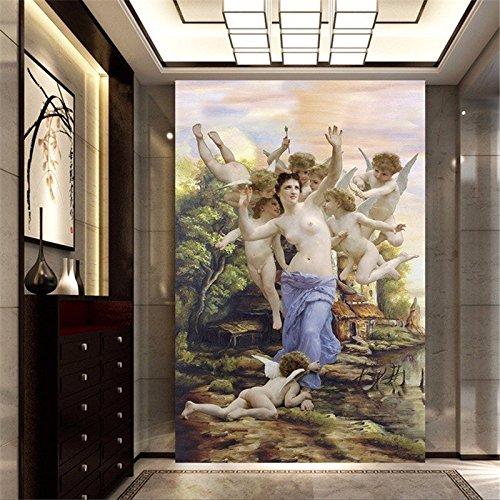 LHDLily 3D Tapete 3D Wallpaper Fresken Wandbilder Verdicken Zimmer Custom Wall Sticker Venus Kleine Engel Veranda Gemälde Foto Für Wände 400Cmx300Cm