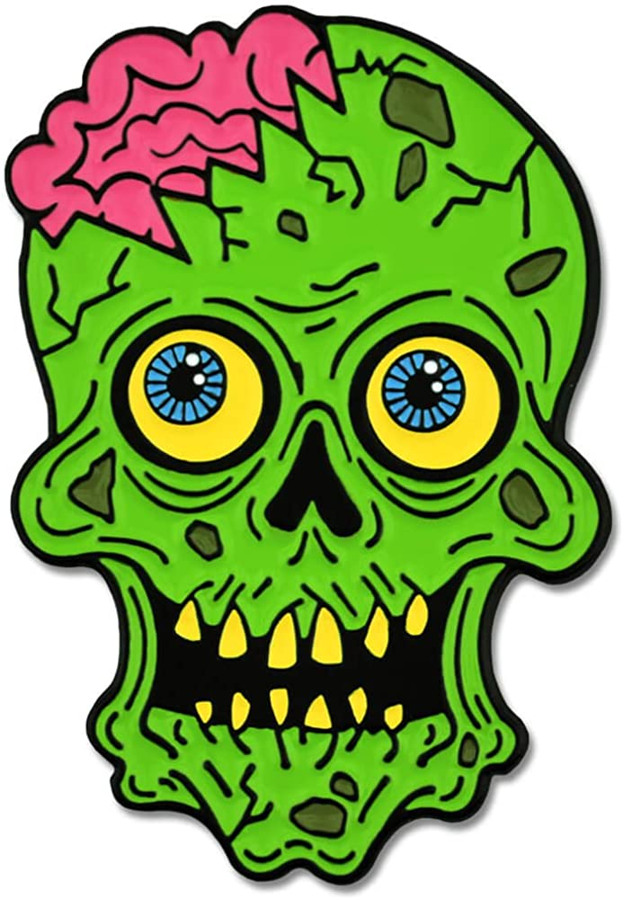 PinMart Green Zombie Skull Inventory cleanup selling sale and Halloween La Enamel Max 78% OFF Brains Horror