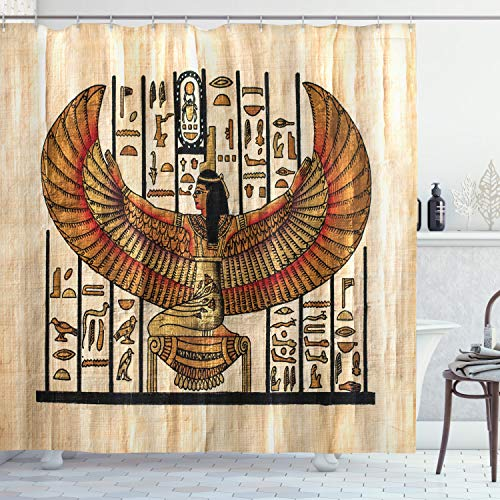 """Ambesonne Egyptian Print Shower Curtain, Oriental Historical Art Egyptian Parchment Texture Background, Cloth Fabric Bathroom Decor Set with Hooks, 70"""" Long, Ivory Orange"""