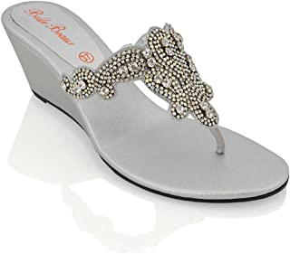 ESSEX GLAM Womens Slip On Sandals Toe Post Sparkly Diamante Synthetic Dressy Low Wedge Heel Mule