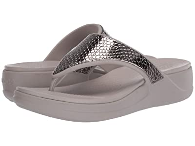 Crocs Monterey Metallic Wedge Flip (Silver/Platinum) Women