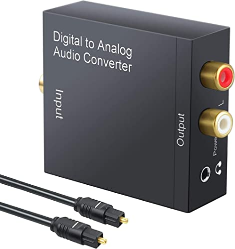 Tersely DAC Digital to Analog Converter Digital SPDIF Toslink to Analog Stereo RCA 3.5mm Audio L/R Converter Adapter ...