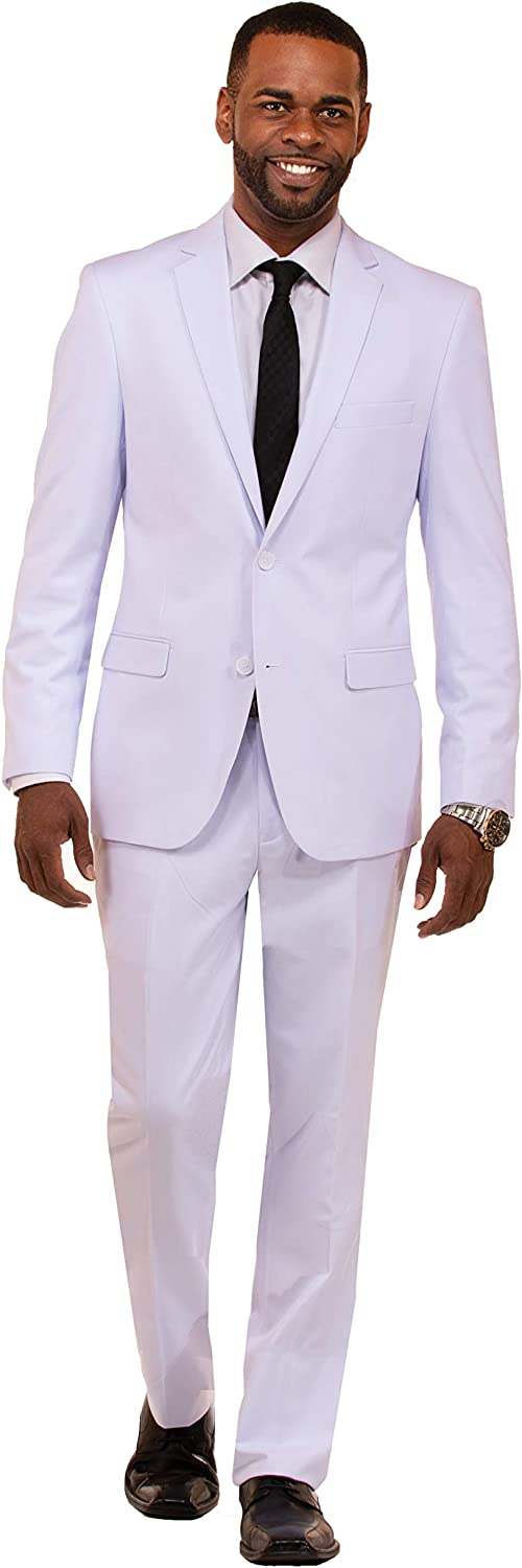 Danny Colby Slim Fit Suit for Men 2 Piece Mens Suit Suit for Wedding and Formal Event, Business Suit White 34S