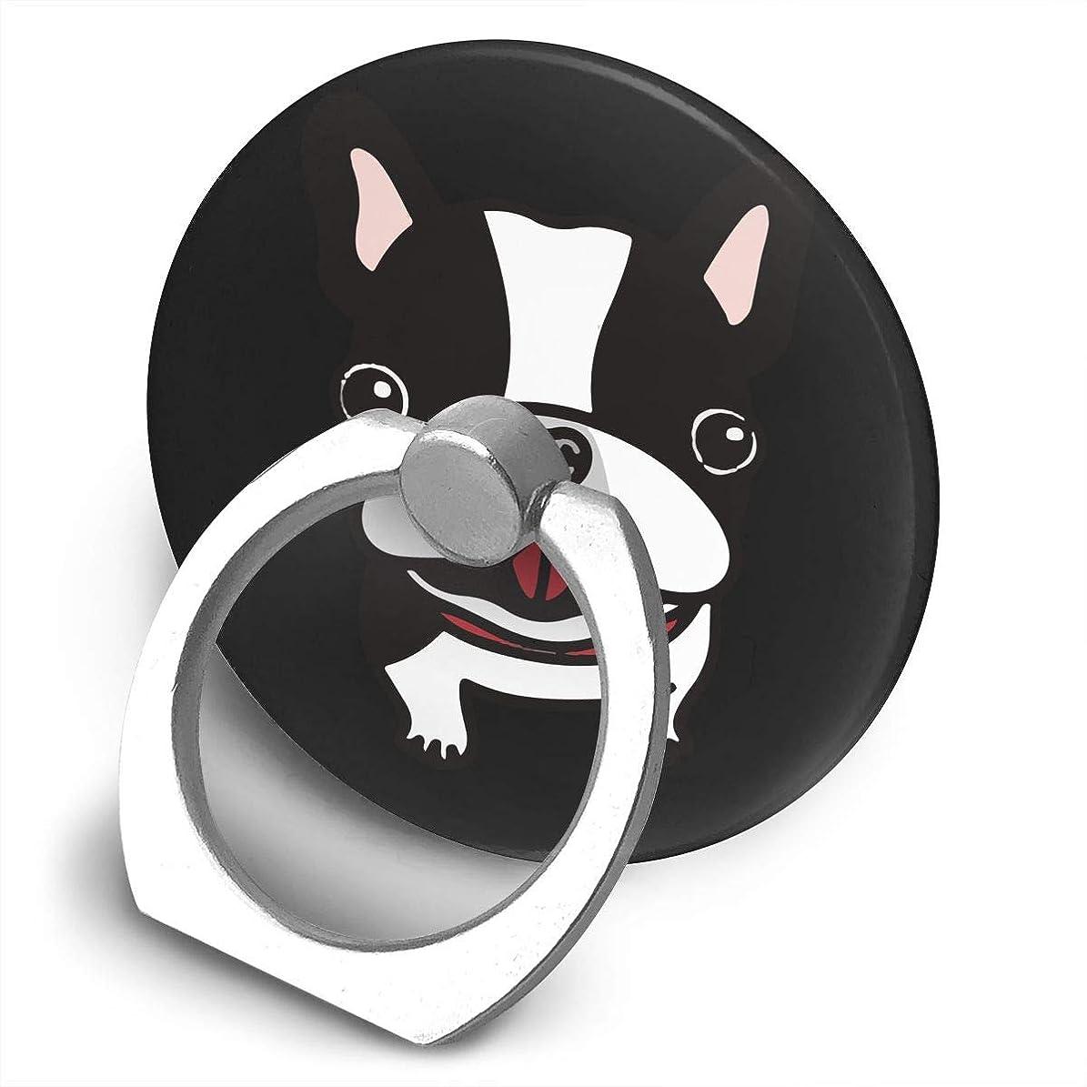 フェンス不規則性に負ける癒し系子犬 ボケ担当 ぽっちゃり 超萌えフレンチブルドッグ!ご主人様どこ? プリント スマホリング ホールド リング 丸型 指輪リング 薄型 おしゃれ 落下防止 360° ホルダー 強吸着力 IPhone/Android各種他対応