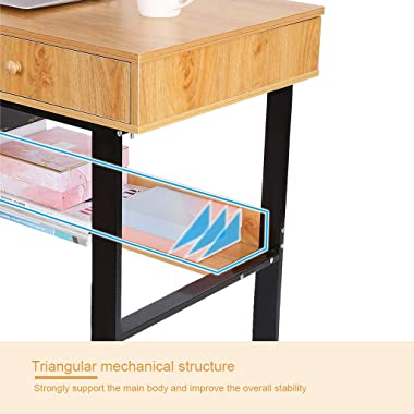 Home Office Storage Rack Design Computer Desk with Double Drawer Laptop Office Desk Writing Table, Yellow, Black Metal Frame,