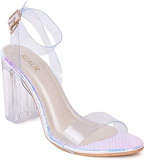 Klaur Melbourne Women Transparent Block Heel and Strap Sandals Multi Colour Shines 3.5 Inch Heel 1800