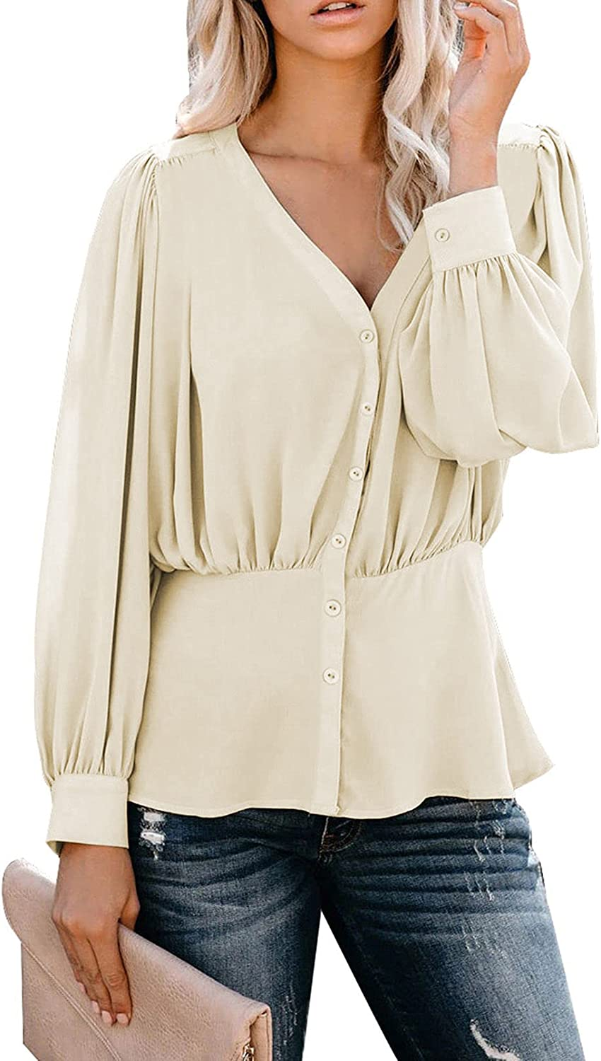 Meenew Women's Long Sleeve Button Down Shirts Pleated Blouses Peplum Tops L Apricot