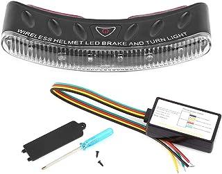 Qiilu 12V Wireless LED Motor motocicleta casco de señal de giro de freno luz de seguridad luz de seguridad