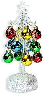 BANBERRY DESIGNS Glass Christmas Tree with LED Lights - White Iridescent Glitter with 12 Mini Ball Ornaments - 8 1/2
