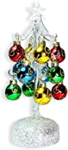 "BANBERRY DESIGNS Glass Christmas Tree with LED Lights - White Iridescent Glitter with 12 Mini Ball Ornaments - 8 1/2"" H"