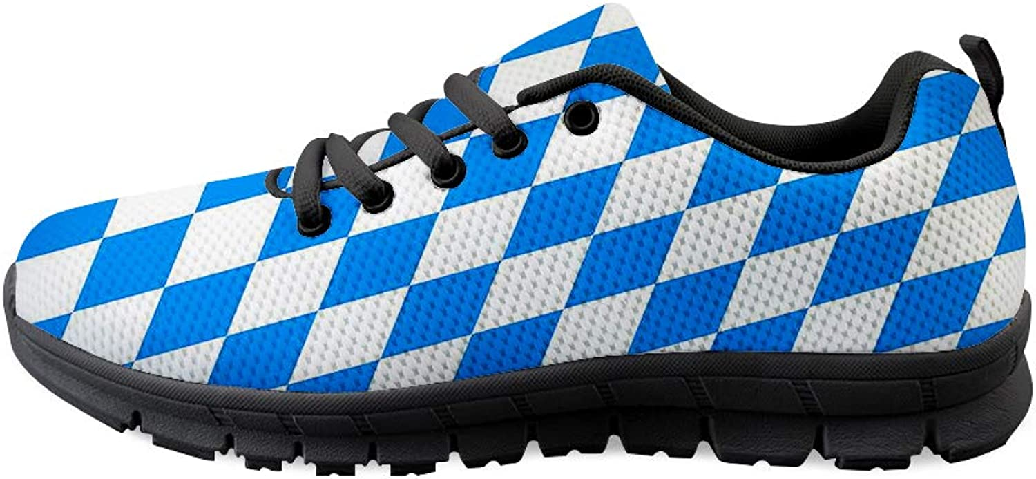 Owaheson Lace-up Sneaker Training shoes Mens Womens bluee White Diamond Bavaria Flag