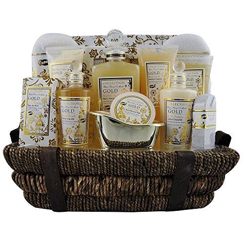 Coffret cadeau Premium pour femme - Panier de bain en osier noir incluant un set de voyage - Collection Gold - Muscs/Roses Blanches