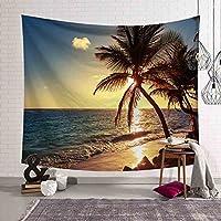 長方形ポリエステル生地ココナッツビーチの風景の壁の壁掛けの飾りの居間の背景布のテーブルクロスビーチタオルタペストリーのカーテン (Size : 150*200cm)