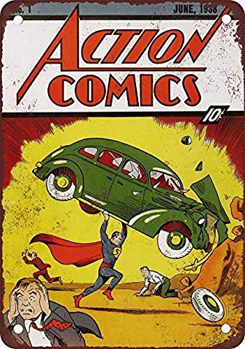 JOHUA Action Comics #1 Blechschilder Warnschild Metallposter Eisen Kunst Retro Zeichen Promi Malerei Gebäude Garten Bauernhof Cafe Bar als Geschenk