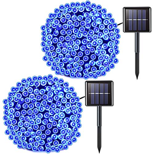 JMEXSUSS 2 Pack Solar String Light 200LED 75.5ft 8 Modes Solar Christmas Lights Waterproof for Gardens, Wedding,Party,Christmas Tree,Xmas,Outdoors (200LED-Blue-2Pack)