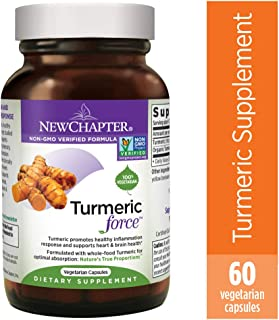 Turmeric Curcumin Supplement, New Chapter Turmeric Supplement, One Daily, Joint Pain Relief + Supercritical Organic Turmeric, Black Pepper Not Needed, Non-GMO, Gluten Free – 60 Count (2 Month Supply)