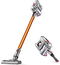 Puweike Cordless Stick Vacuum Cleaner - Hardwood Floors, Carpets and Pet Hair, Wireless Vacuum Cleaner 12Kpa Powerful Suction with Rechargeable Battery, 2 in 1 Design, 120W, P80 (Gold)