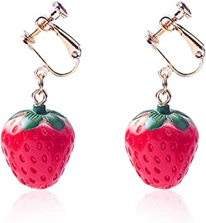 YOOE Simulated Fruit 3D Strawberry Acrylic Earring. Cute Stereoscopic Red Strawberry Dangle Earring, Country Style Ear Cli...