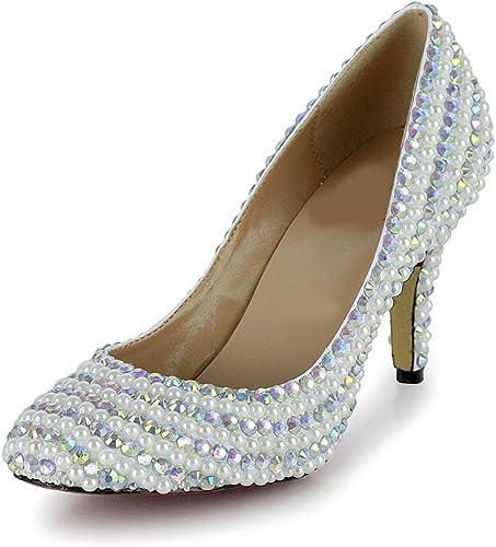 mujer La Perla rojoonda de la Perla de Las mujeres Calza los zapatos del Diamante Artificial del Alto Talón