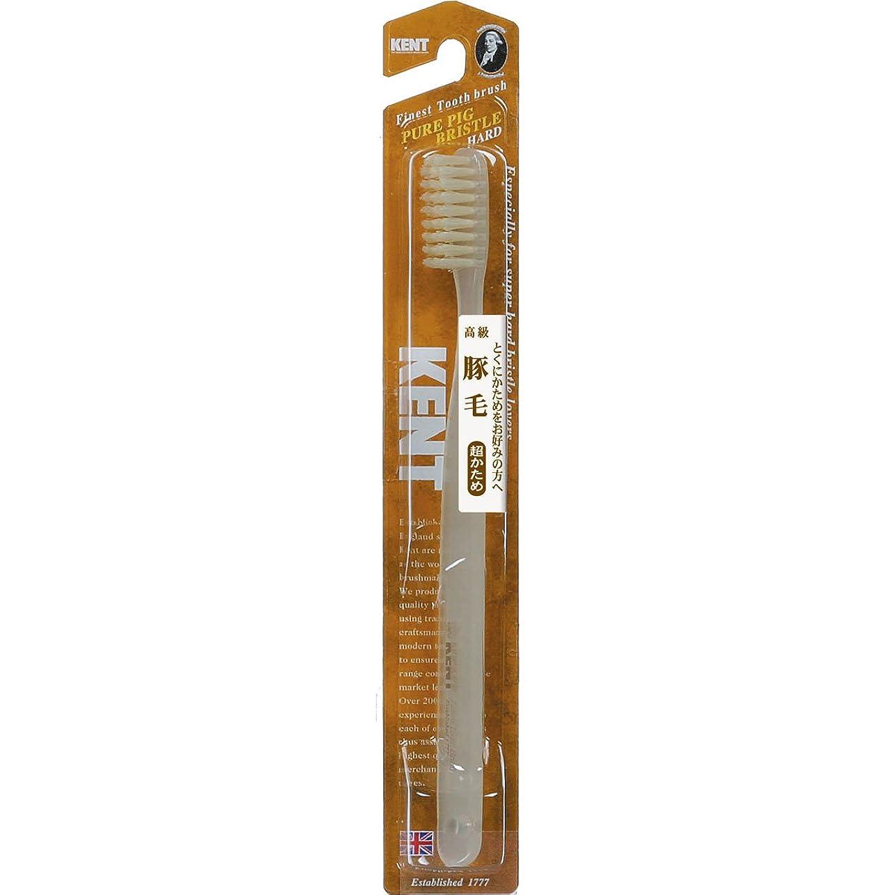 無駄なチキンレタッチKENT 豚毛歯ブラシ ラージヘッド 超かため KNT-2433 ×10個セット