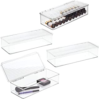 mDesign Large Makeup Storage Organizer Box for Bathroom Vanity, Countertops, Drawers - Holds Blenders, Eyeshadow Palettes, Lipstick, Lip Gloss, Makeup Brushes - Hinged Lid - 4 Pack - Clear