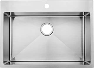 Commercial 28 inch 16 Gauge Top mount Drop-in Single Bowl Basin Handmade T304 Stainless Steel Kitchen Sink, 10 Inch Deep Brushed Nickel Kitchen Sinks