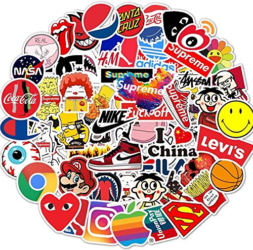 Afufu Stickers Pack Cool, 100 Pcs Stickers for Teens Vinyl Waterproof Tide Brand Stickers, for Laptop, Luggage, Car, Skateboard, Motorcycle, Bicycle Decal Graffiti Patches