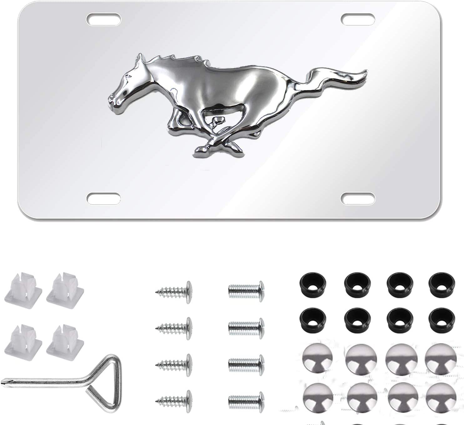 Mustang 3-D Pony Metal Logo Silver Mirror Stainless Steel Front License Plate Cover,with Screw Caps Cover Set Suit for Ford Mustang.