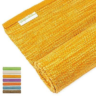 "Yogasana Yoga Mat   Thick Eco Friendly Cotton, Home Workout Mat Floor Exercise, Meditation, Superior Grip Non Slip, Hot Yoga 72"""