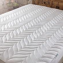 Penelope Bedroom UK 100% Aloe Vera Fabric, Natural, Mattress Protector, White, 180X200