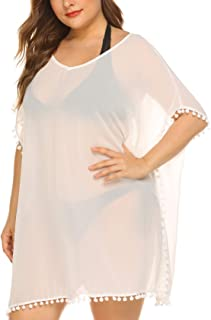 Women Plus Size Cover Up Breathable Cover up Chiffon Swimsuit Cover ups V-Neck Beach Plus Swimsuit Cover ups with Tassel