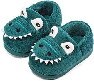 Voqeen Chaussons Enfants Hiver Chaud Chaussons Fille Garcon Peluche Pantoufle Animaux Dinosaure Slippers Doux Antidérapant...
