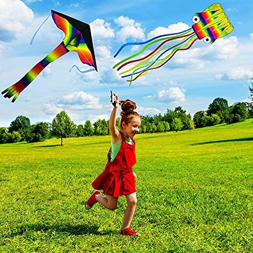 Kuptone Drachen Flugdrachen 2Pack, Regenbogen Delta Drachen für Kinder und 5M Großer Octopus Drachen Flugdrachen für Erwachsene mit Schönen Schwänzen Leicht zu Fliegen für AktivitäTen Freien