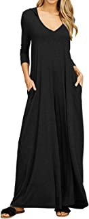 Jacansi Women Causal Loose Hoodie Maxi Dress V Neck 3/4 Sleeve Solid Long Dress