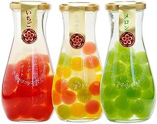 ふみこ農園 果汁たっぷり フルーツゼリーボールコンポート3本セット(いちご、ミックス、メロン)内祝 プチギフト 子供<10591> (通常)