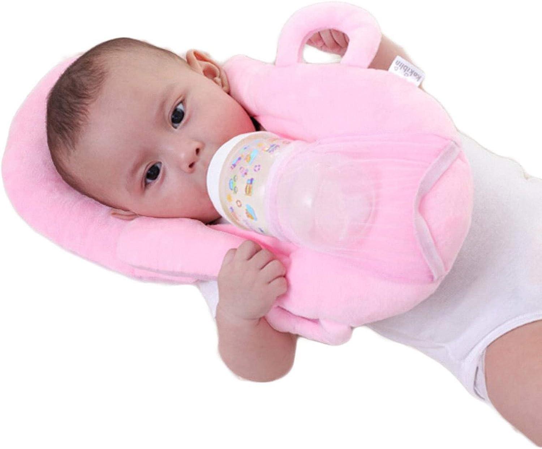 AmShibel Baby Feeding Pillows Multifunctional Portable Detachable Self-Feeding Infant Baby Bottle Holder Cushion (Pink, 45275CM)